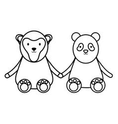 cute bear panda and monkey characters vector image