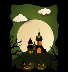 design cemetery happy halloween paper art style vector image