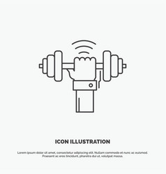 dumbbell gain lifting power sport icon line gray vector image