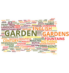 English gardens of the th century text background vector