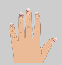 exfoliating the tips of the nails vector image