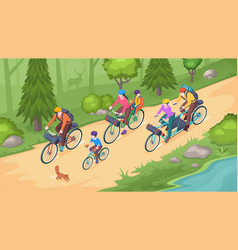 family biking tourism bicycle travel isometric vector image