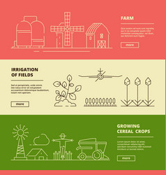 farm symbols banners field wheat nature village vector image