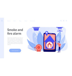 Fire alarm system concept landing page vector