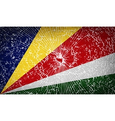 Flags SEYCHELLES with broken glass texture vector image