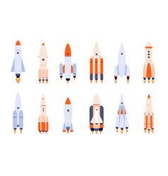flat rocket space rockets spaceship start up vector image
