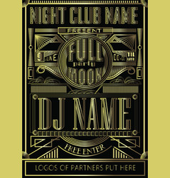 fullmoon party art deco design flyer disco night vector image