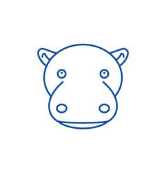 funny hippo line icon concept funny hippo flat vector image