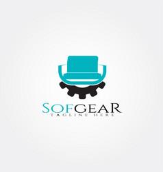 Furniture logo templategear and seat icon vector