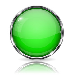 Glass green button round 3d button with metal vector