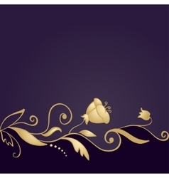 Golden floral ornament on purple background vector image