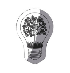 Grayscale contour sticker with bulb light and vector