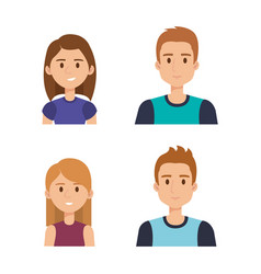 group of young people avatars vector image