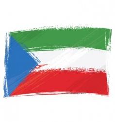 grunge Equatorial Guinean flag vector image