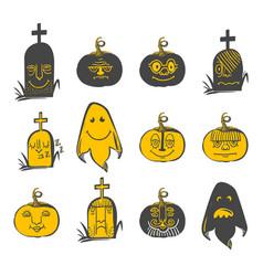 Halloween avatars set vector