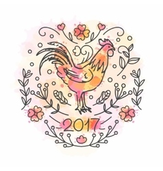 Hand drawn rooster 2017 chinese new year the vector