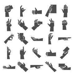 hand gesture silhouette pointing hand gesture vector image