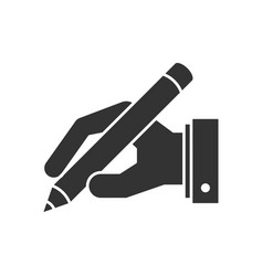 Hand holding pen icon vector