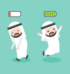 Happy and full of energy arab businessman burnout vector