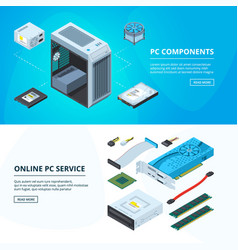 Horizontal banners set with different parts of vector