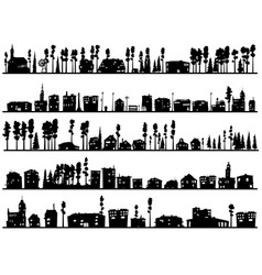 horizontal childish silhouettes of built home and vector image