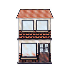 house facade of two floor in colored crayon vector image