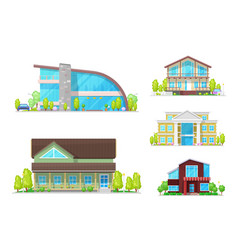 House or home buildings town and village property vector