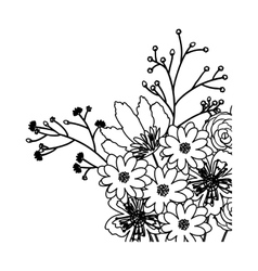 Isolated flowers silhouette decoration design vector