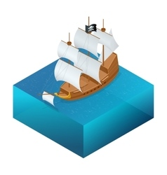 Isometric Pirate Ship with Jolly Roger on water vector