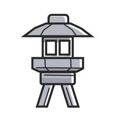 Japanese street ground lamp in metal corpus vector