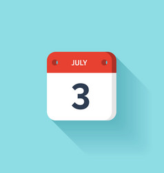 July 3 Isometric Calendar Icon With Shadow vector