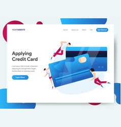 landing page template credit card concept vector image