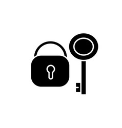 lock with key black icon sign on isolated vector image