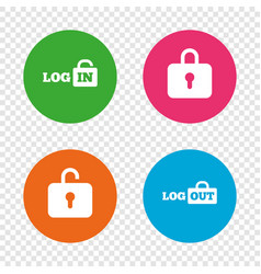 Login and logout icons sign in icon locker vector