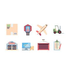 logistics icons transportation logistics company vector image