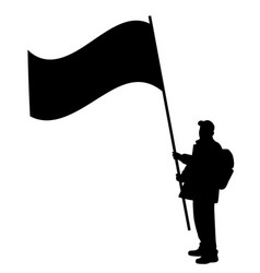 Man holding large flag vector