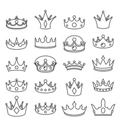 Medieval outline monarch royal crown queen king vector