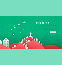 merry christmas paper cut village web template vector image