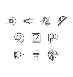 Metalworking equipment black line icons set vector