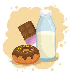 Milk and donut with chocolate bar vector