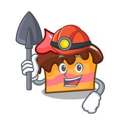 Miner sponge cake mascot cartoon vector