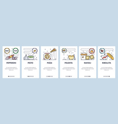 mobile app onboarding screens italian food vector image