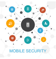 Mobile security trendy web concept with icons vector