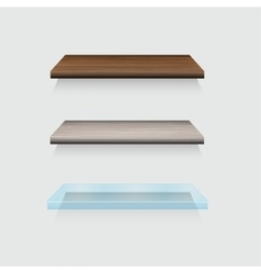 modern wooden and glass shelfs set on gray vector image