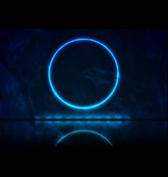 Neon circle frame on dark blue grunge background vector