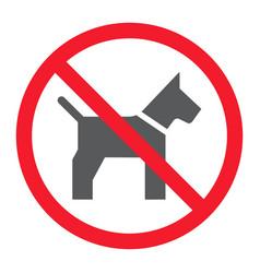 No dog glyph icon prohibition and forbidden vector