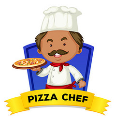 Occupation wordcard with word pizza chef vector image