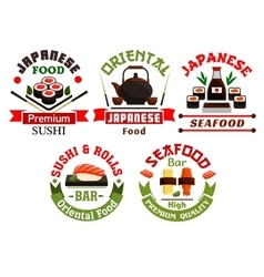 Oriental Japanese food restaurant icons vector image
