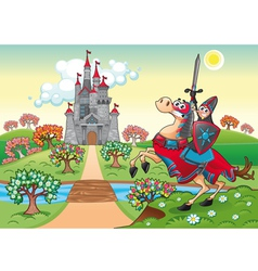 Panorama with medieval castle and knight vector image