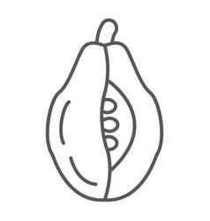 papaya thin line icon food and vitamin exotic vector image